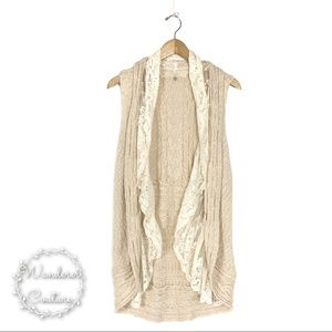 Anthro Knitted & Knotted Knit Lace Trim Vest
